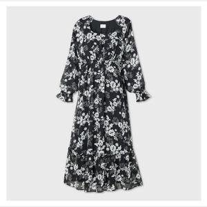 Floral Print Long Sleeve Chiffon Maternity…